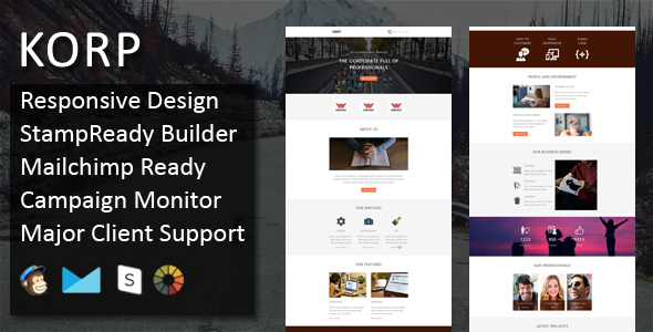 KORP – Multipurpose Responsive Email Template + Stampready Online Builder Access