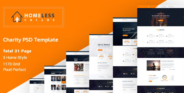 Homeless Childs – Charity Psd Template
