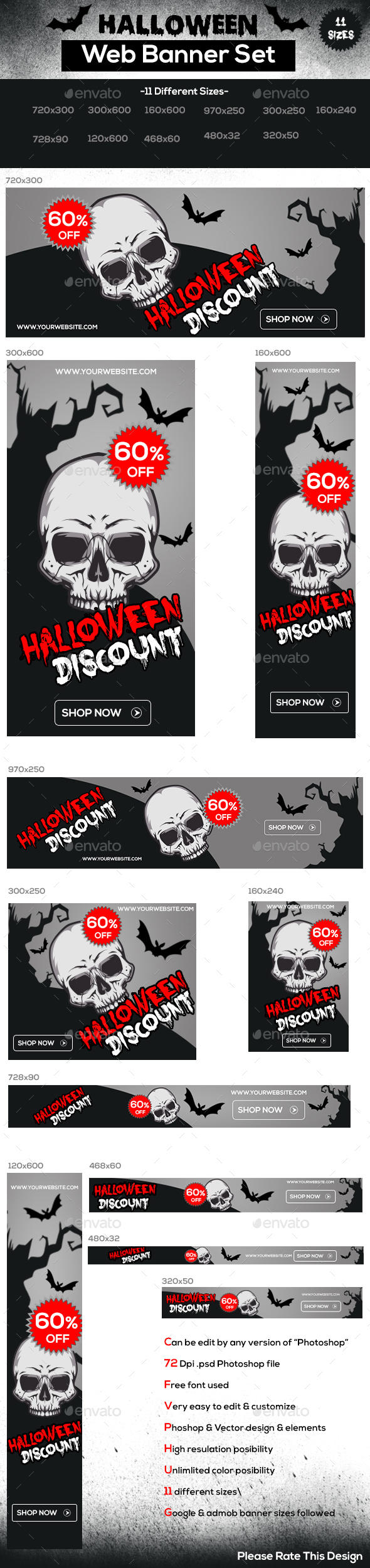 Halloween Web Banner Set - Banners & Ads Web Elements