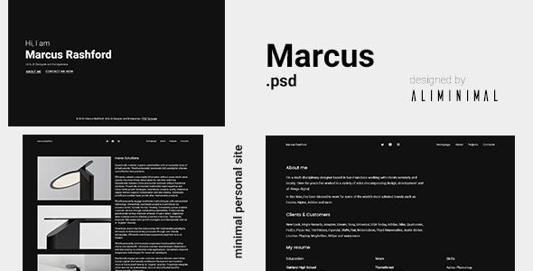 Marcus – Minimal vCard PSD Template