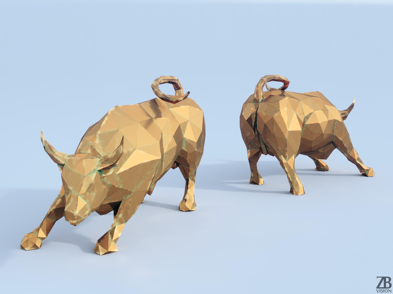 Lowpoly Charging Bull By Luckyfox 3docean