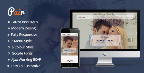 Pair Responsive HTML5 Wedding Template - Wedding Site Templates