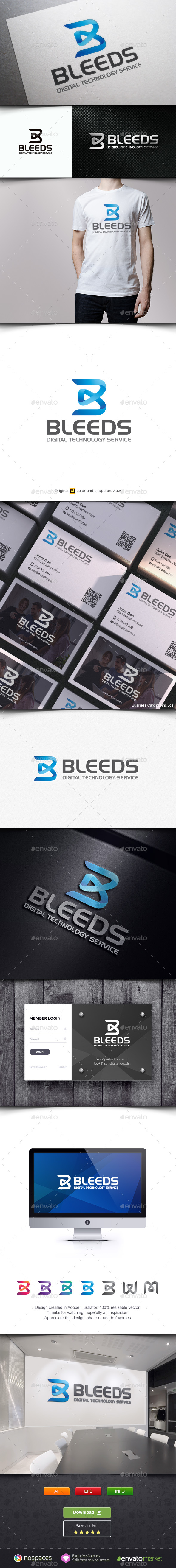 Bleed - Letter B Logo - Letters Logo Templates