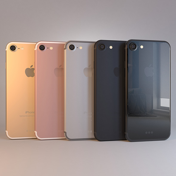 Apple iPhone 7 on Dock in All Colors - 3DOcean Item for Sale