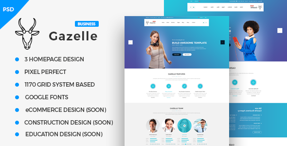 Gazelle Business PSD Template