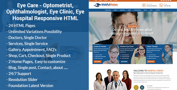 Eye Care - Optometrist, Ophthalmologist, Eye Clinic, Eye Hospital Responsive HTML Template - Health & Beauty Retail