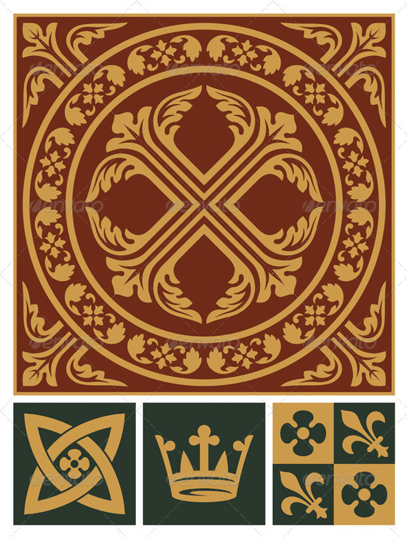Middle Ages Ornament Set - Decorative Symbols Decorative