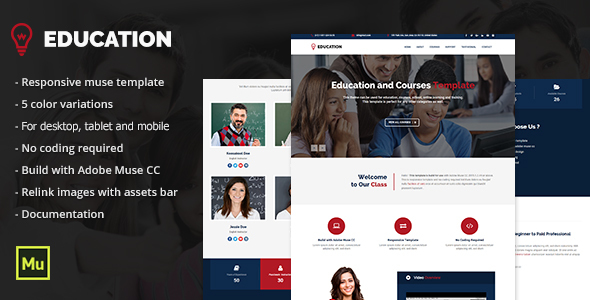 Education - Responsive Education, Courses Template - Corporate Muse Templates