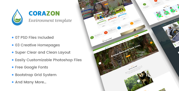 Corazon – Multi Concept Environment / Charity / Green Energy / Nonprofit PSD Template