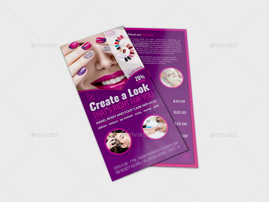 Nail salon dl flyer template by owpictures graphicriver for Nail brochure templates free