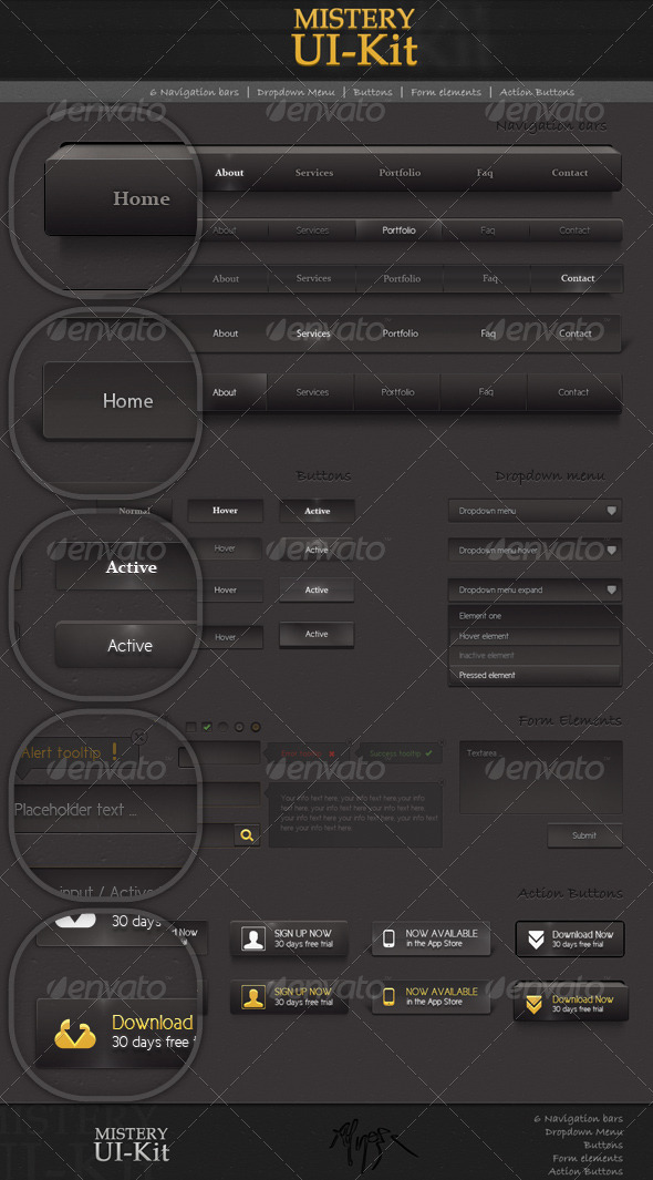 Mystery Ui Kit Black - User Interfaces Web Elements