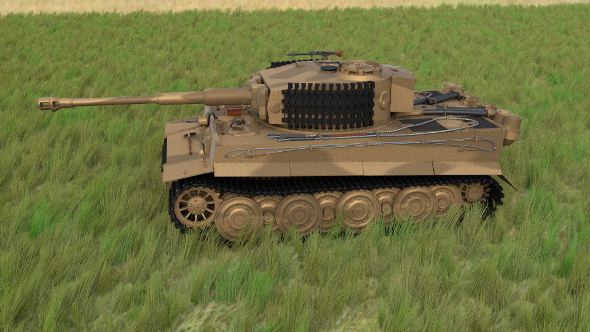 Panzer Tiger Tank Late 1944 HDRI v1 - 3DOcean Item for Sale