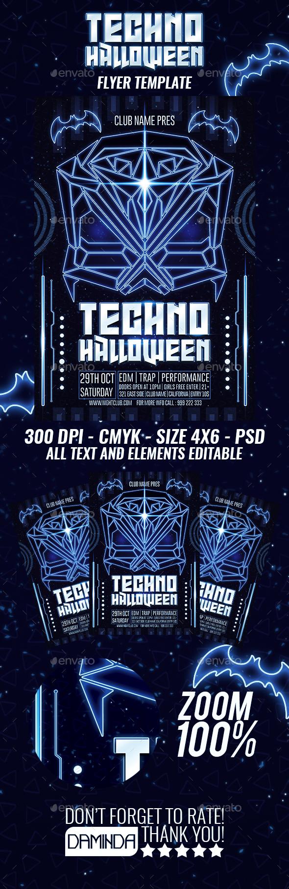 Techno Halloween Flyer Template By Daminda Design Graphicriver