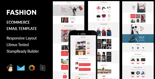 Fashion – Ecommerce Responsive Email Template + Stampready Builder