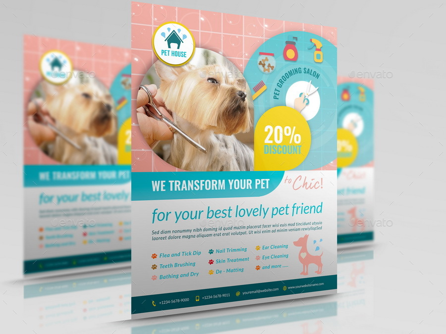 Pet Grooming Salon Flyer Template By Owpictures Graphicriver