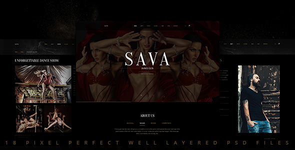 Sava — Dance school | Dance club PSD Template - Nightlife Entertainment
