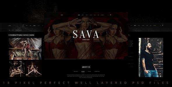 Sava — Dance school   Dance club PSD Template