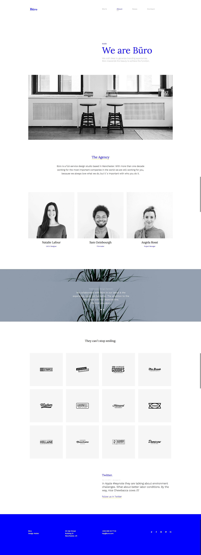 buro minimal bootstrap typography portfolio template by vankarwai