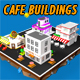 Low Poly Cafe Buildings - 3DOcean Item for Sale