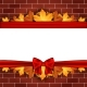 Holiday Banner on Brick Wall with Autumn Leaves - GraphicRiver Item for Sale
