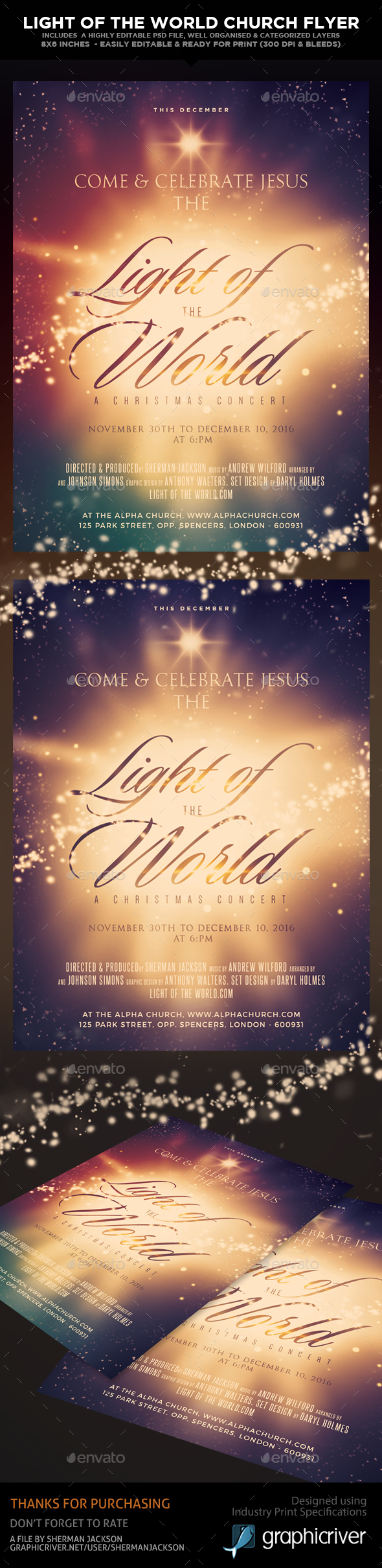 Light of the World - Church Christian Themed Flyer - Church Flyers