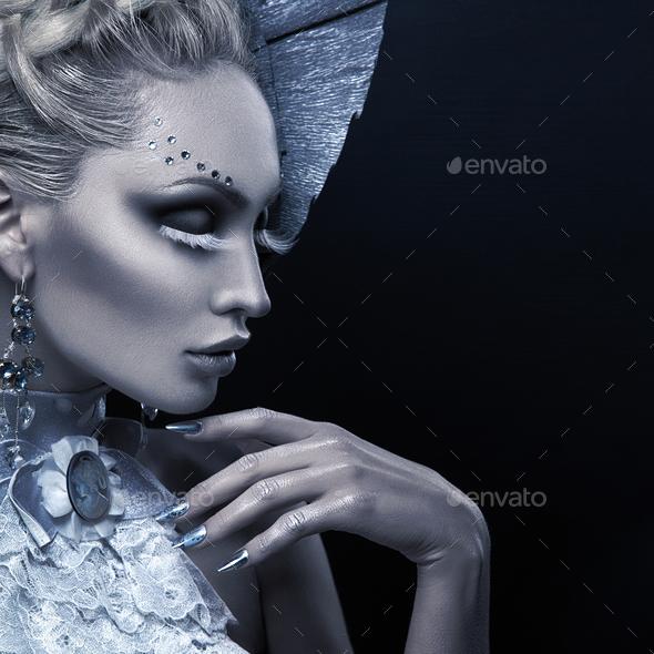 Closeup portrait of winter queen - Stock Photo - Images