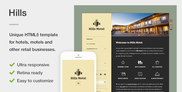 Hills – A Unique Responsive Hotel / Motel HTML5 Template