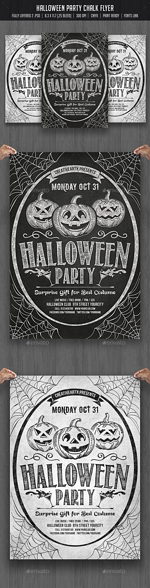 Halloween Party Chalk Flyer