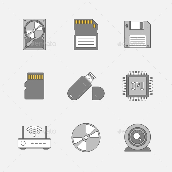 Data Storage Flat Line Icons - Technology Icons