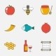 Rosh Hashanah, Shana Tova Flat Line Icons - GraphicRiver Item for Sale