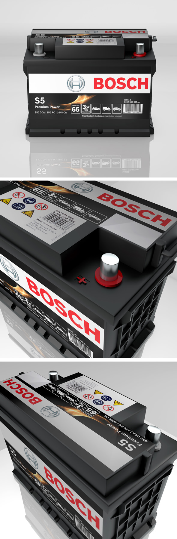 High detailed Bosch Auto Car Battery S5 Premium Power - 3DOcean Item for Sale