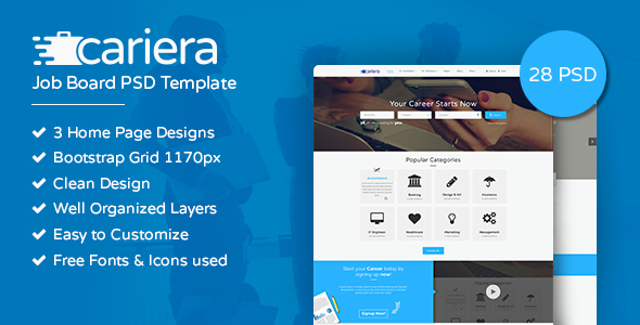 Cariera Job Board PSD Template - Corporate PSD Templates