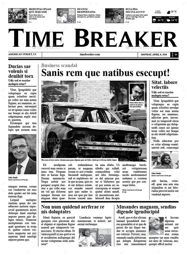 Old School   Newspaper   Newsletters Print Templates · Time_Breaker1 ...
