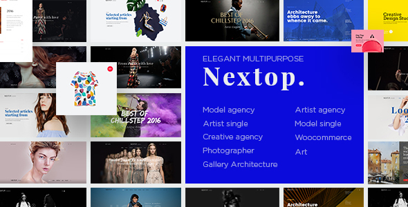 Nextop WordPress theme – Model Artist Talent Agency –  Photographer – Gallery – Creative Elegant