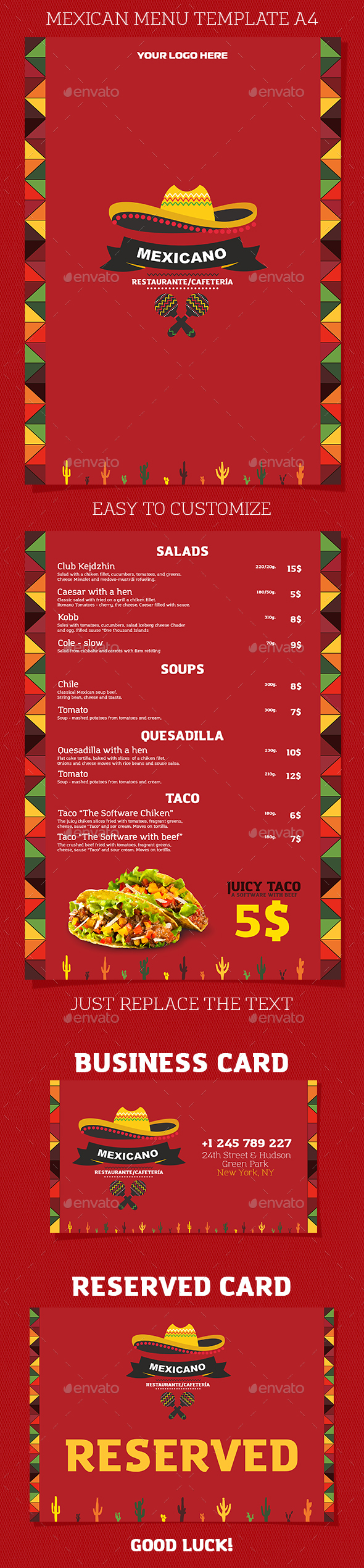 Mexican Restaurant or Cafe Menu