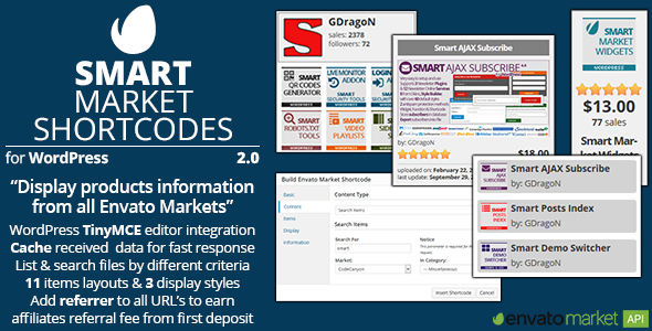Smart Market Shortcodes - Plugin for WordPress and Envato Market