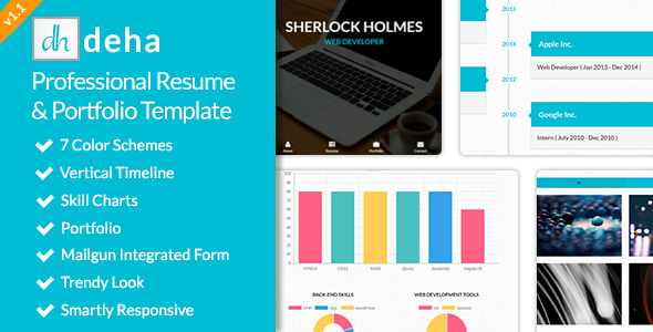 Deha professional resume portfolio template by for Mailgun templates