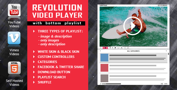 Revolution Video Player With Bottom Playlist - YouTube/Vimeo/Self-Hosted Support - CodeCanyon Item for Sale