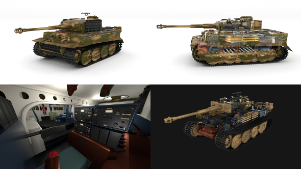 Fully built Panzer Tiger Tank Late 1944 v2 (interior and engine) - 3DOcean Item for Sale