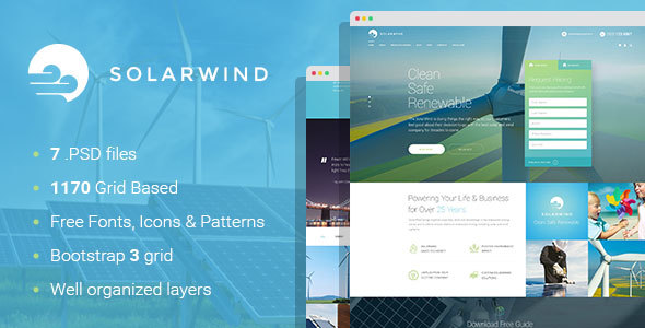 SolarWind - Renewable Energy Equipment Manufacturer PSD Template - Business Corporate