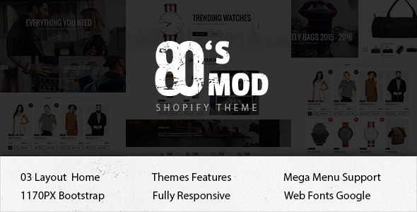 80's Mod Responsive Ecommerce Shopify Theme