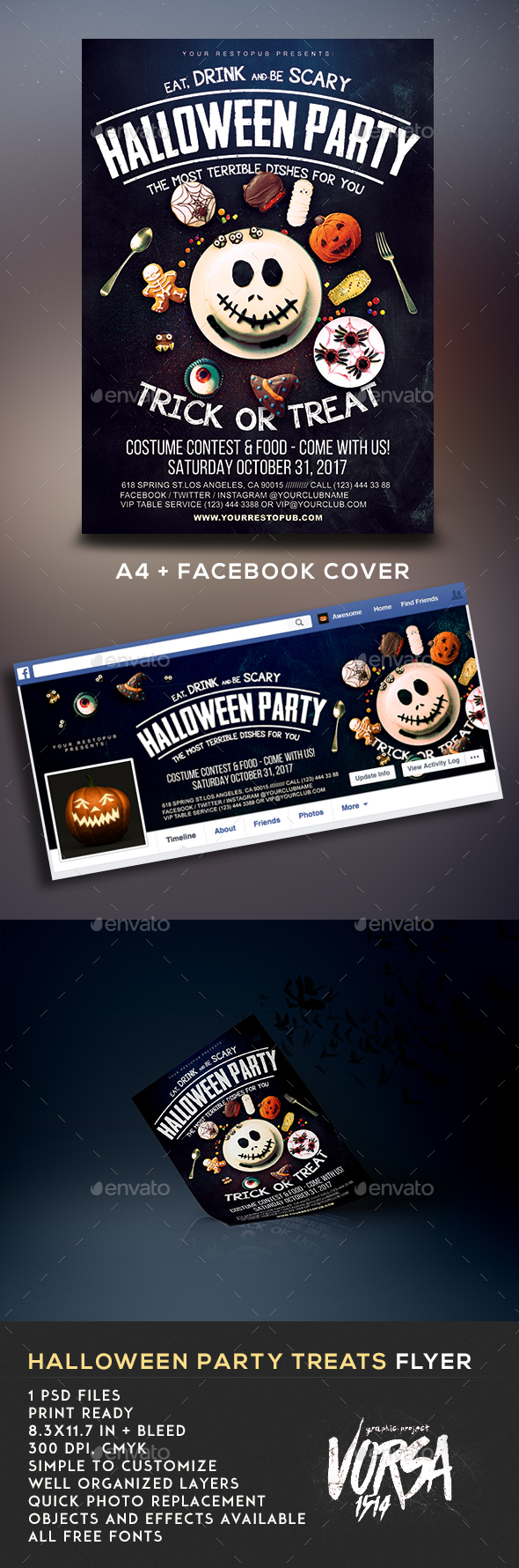 Halloween Party Treats Flyer