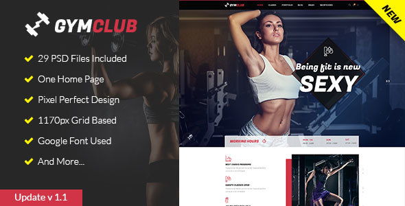 GymClub - Gym & Fitness PSD Template - Health & Beauty Retail