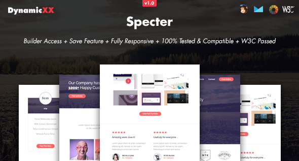 Specter - Responsive Email + Online Template Builder - Email Templates Marketing