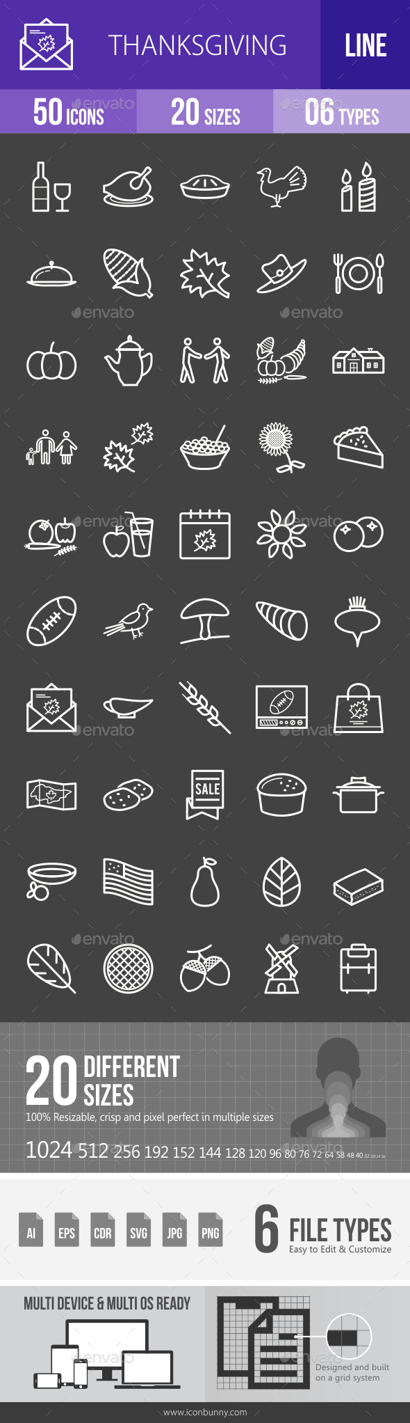 Thanksgiving Line Inverted Icons - Icons
