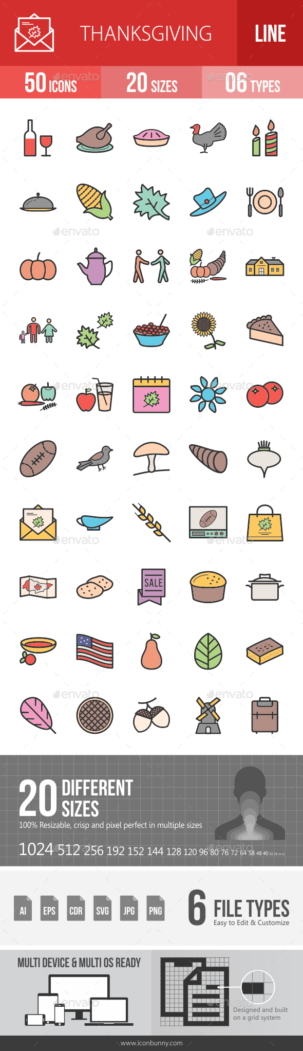 Thanksgiving Filled Line Icons - Icons