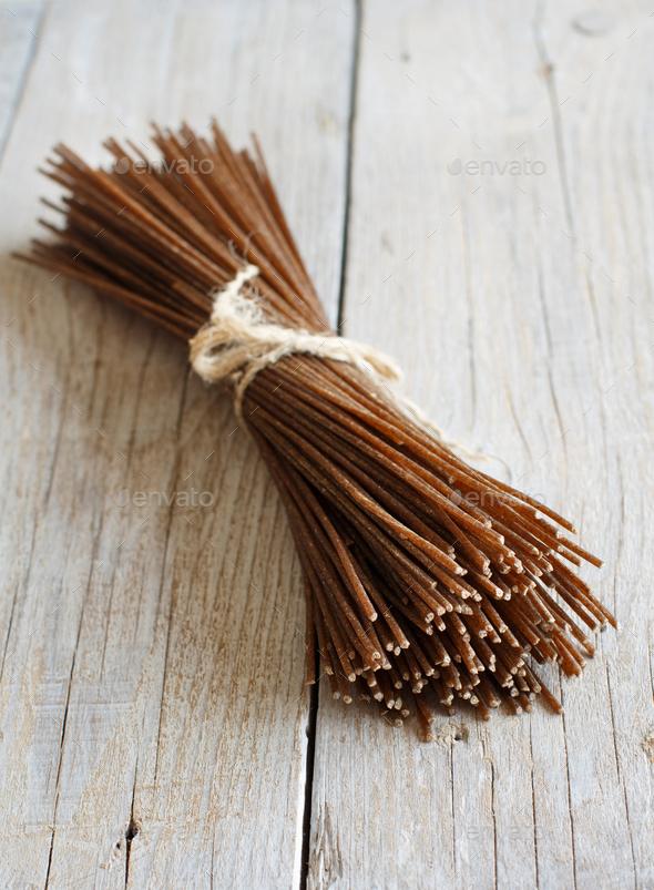Brown rye spaghetti - Stock Photo - Images