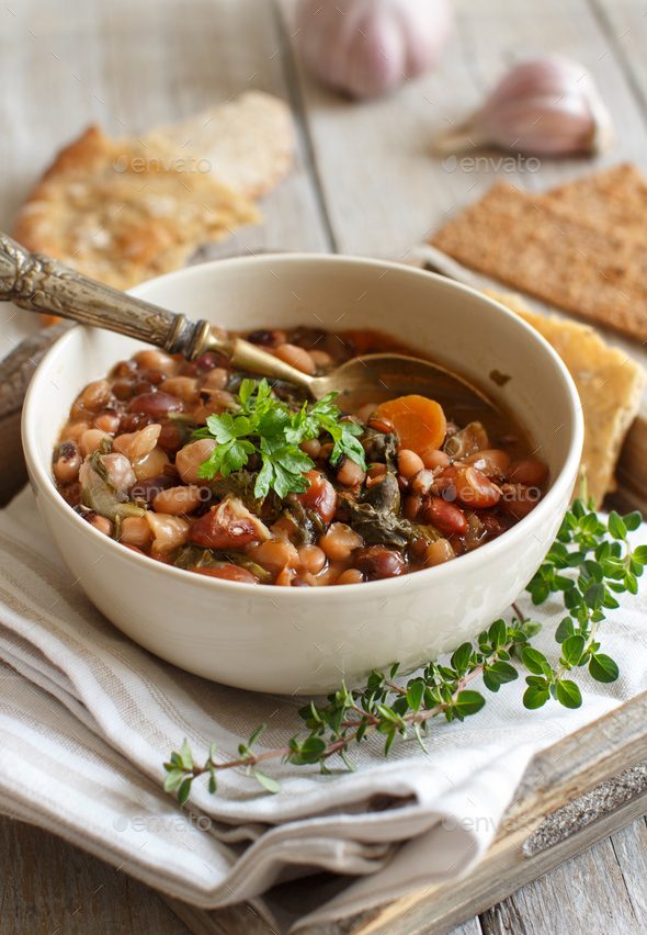 Cooked legumes and vegetables in a bowl - Stock Photo - Images