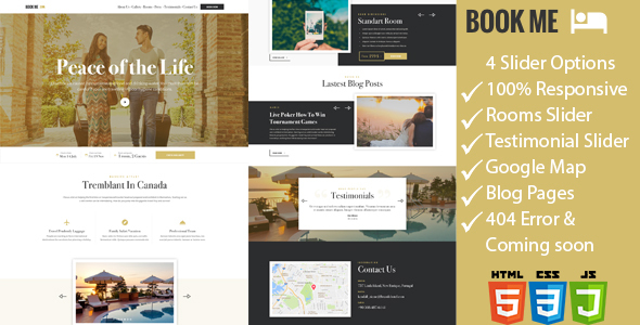 Book Me – One Page Hotel / Resort HTML Template