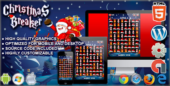Christmas Breaker - HTML5 Construct Match 3 Game - CodeCanyon Item for Sale